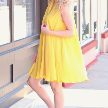 Honey Keyhole + Buttons Sleeveless Swing Dress