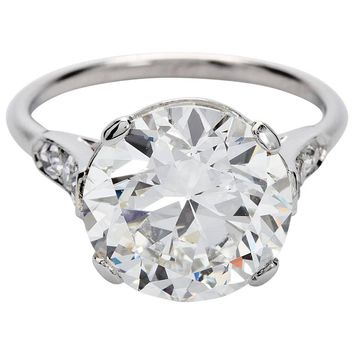 1920s Cartier GIA Cert 4.41 Carat H/VS2 Round Diamond Engagement Ring