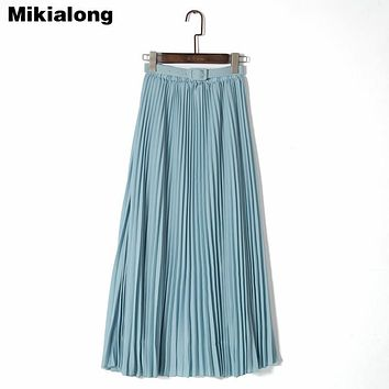 Mikialong Autumn 2017 Vintage Long Maxi Chiffon Skirt Women Elastic High Waist Pleated Skirt Ladies Elegant Boho Skirt with Belt