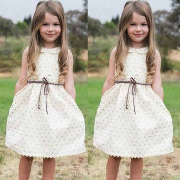 Cute polk a Dot White Dress Sleeveless Princess Dress
