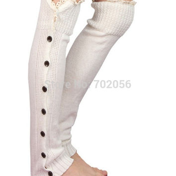 Lace button down Leg Warmers Ballet Dance knitted booty Gaiters Boot Cuffs Boot Covers Long Gloves#3653