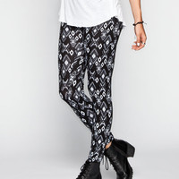 Full Tilt Ethnic Print Womens Leggings Black/White  In Sizes