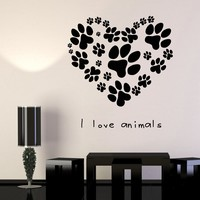 Vinyl Wall Decal Pets Veterinary Clinic Animal Love Dog Paw Print Cat Stickers Unique Gift (666ig)