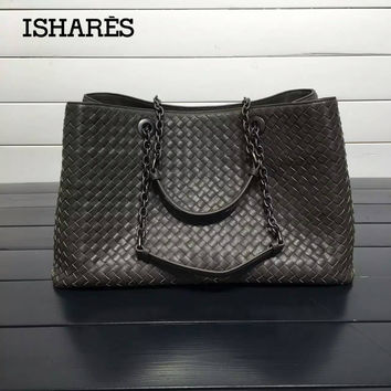 ISHARES Genuine Leather Sheepskin Handbags lambskin high quality Women weave  Shoulder Bags Chain Totes Large Capacity 741e2e5cf8