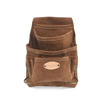 88923 - 10 Pocket Carpenter's Nail and Tool Pouch in Heavy Duty Suede Leather