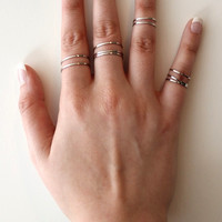 Silver Thin Band Ring Set