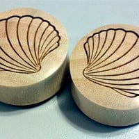 "Custom Handmade Organic ""Sea Shell"" Wood Plugs - You choose wood type/color and size 0g - 30mm"