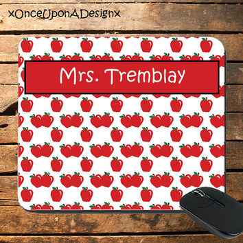 Cute Personalized Teacher Mousepad Mousepad For School Apple Mousepad Apples Mousepad Teacher Supplies