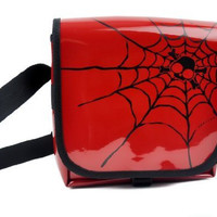 Red PVC with Black Spider Web Messenger Sling Bag