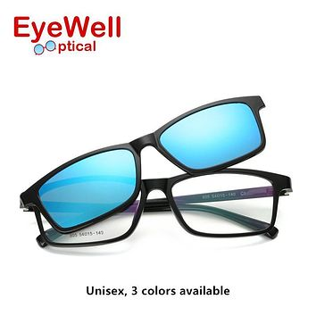 Vintage unisex myopia optical frame with polarized sun lens for men and women magnet adsorption fashion clip on sunglasses new