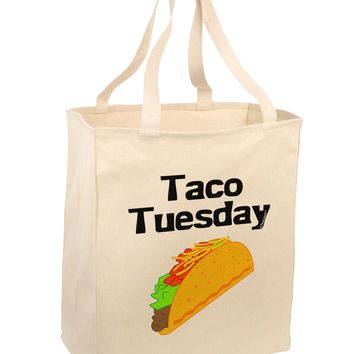Taco Tuesday Design Large Grocery Tote Bag by TooLoud