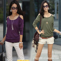 New Womens Korean Fashion Sexy Off-Shoulder Top T-Shirt 4 Colors Casual Shirt