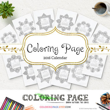Printable Mandala Coloring Pages Calendar 2016 Printable Coloring Book Anti Stress Zen Coloring Printable Art Instant Download Coloring Art