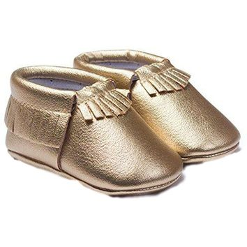 Baby Leather Moccasins, Gold