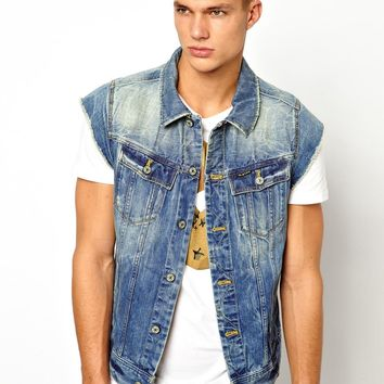 G Star Sleeveless Denim Jacket Slim Tailor Medium Aged Destroy