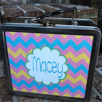 Vintage Style Lunch Box Monogrammed - Personalized Metal Lunch Box - Design you Own -Snack - Toddler Tunch Tote