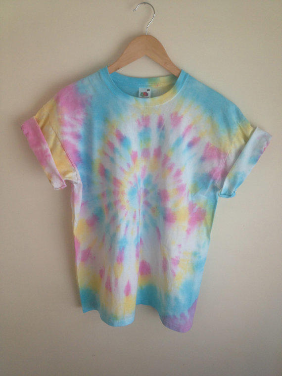 Tie Dye T Shirt Candy Coloured Spiral From