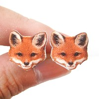 Realistic Fox Animal Head Shaped Stud Earrings | Handmade Shrink Plastic