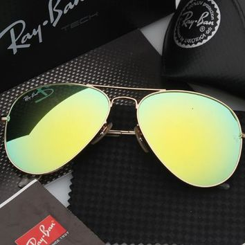Ray Ban Aviator Sunglass Gold Green Mirrored RB 3025 112/19