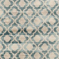 0672 Blue Distressed Moroccan Trellis Area Rugs