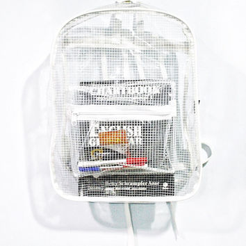 Clear Backpack Transparent Rucksack White Grid Vinyl Travel School Bag