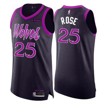 Men's Minnesota Timberwolves #25 Derrick Rose Nike Purple 2018/19 Swingman Jersey – City Edition - Best Deal Online