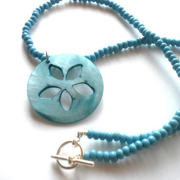 Boho Beach Necklace - Turquoise Beaded Necklace with Shell Pendant