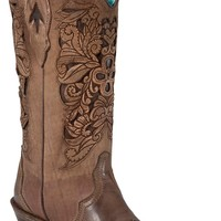 Corral® Ladies Brown w/ Chocolate Inlayed Floral Tool Pointed Toe Western Boots
