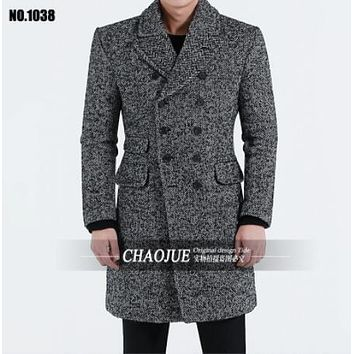 S-6XL ! Herringbone wool 2017 cotton-padded coat male spring and autumn Men fashion medium-long vintage lapel woolen outerwear
