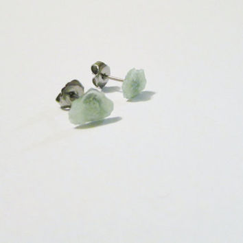 TINY Raw Green Quartz Stud Earrings | QG004 | Natural Quartz Posts | Green Crystal Earrings |Natural Rock Studs |Gemstone Posts