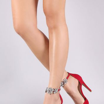 Shoe Republic LA Suede Jeweled Ankle Strap Pointy Toe Pump