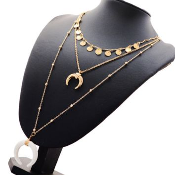 New fashion multi-layer round moon copper bead chain long necklace