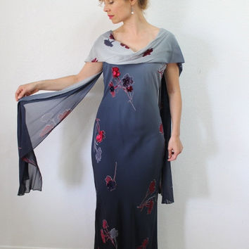 Vintage 80s Dress Silk Grey Red Floral Cape Sheer Shawl by Sherrie Bloom Chetta B Evening Long Gown Small size 6