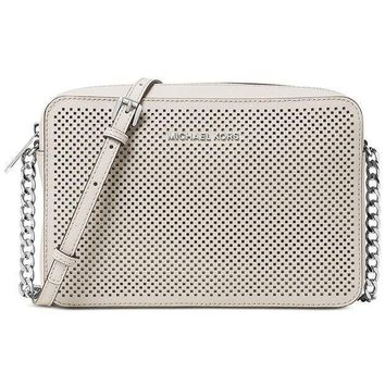 Michael Kors Women's Jet Set Crossbody Leather Bag Cement Perforated Large