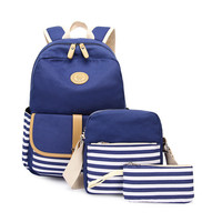 3pcs/set Canvas Women Backpack girl student book bag with purse laptop bag high quality ladies school bag for teenager mochila