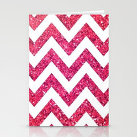 Pink Glitter Chevron Stationery Cards by Pink Berry Pattern