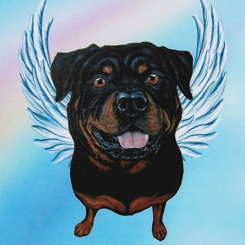 Rottweiler Angel - Rottweiler Art - Dog Angels - Rottweilers - Guardian Angels - Pet Memorial - Rainbow Bridge - Weeze Mace - 8x10