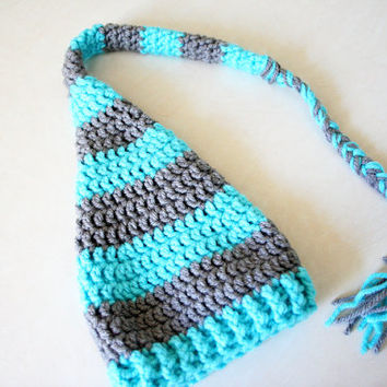 Crochet Elf Stocking Hat for baby boy or baby girl, aqua and gray stripes, sizes 12 months up to 4t, photo prop