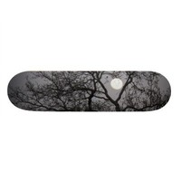 Skateboard, Full Moon, Winter Tree, Gray Sky from Zazzle.com