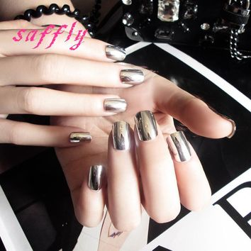 Free shipping 24pcs fashion silvery minute surface False nail Metallic silver Nail Tips Art Design Fake Nails with Glue sticker