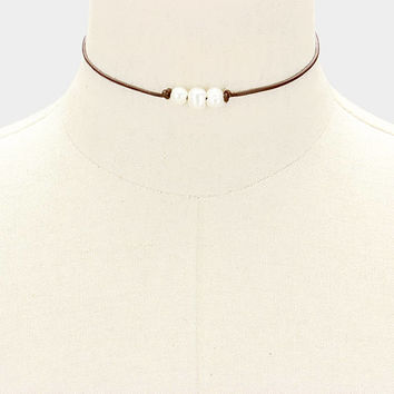 White Freshwater Triple Pearl Brown Genuine Leather Cord Choker Necklace 337656