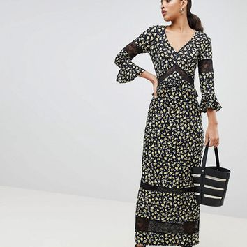 ASOS DESIGN Tall maxi tea dress in floral print with lace inserts at asos.com