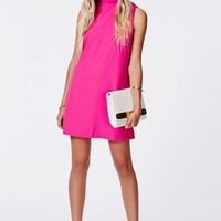 Missguided - Callie Roll Neck Shift Dress Hot Pink
