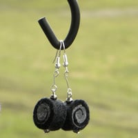 Earrings - unique felted rolls, black grey, felt earrings, very light, dark earrings, unique pattern, handmade earrings, gift for her