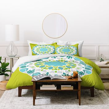Karen Harris Mod Medallion Green Duvet Cover