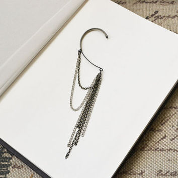 Dangling Silver and Bronze Chains Ear Wrap by oflovelythings