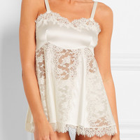 Dolce & Gabbana - Lace and silk-blend satin chemise