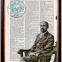 W.E.B. Du Bois Black & White Portrait Altered Art Vintage Dictionary Page Art Print Upcycled Page Print