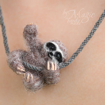 Felted sloth on braided necklace, kumihimo, needle felted animal, felt jewelry, miniature, gift, braided necklace, summer gift