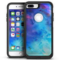 Blue 2 Absorbed Watercolor Texture - iPhone 7 or 7 Plus Commuter Case Skin Kit